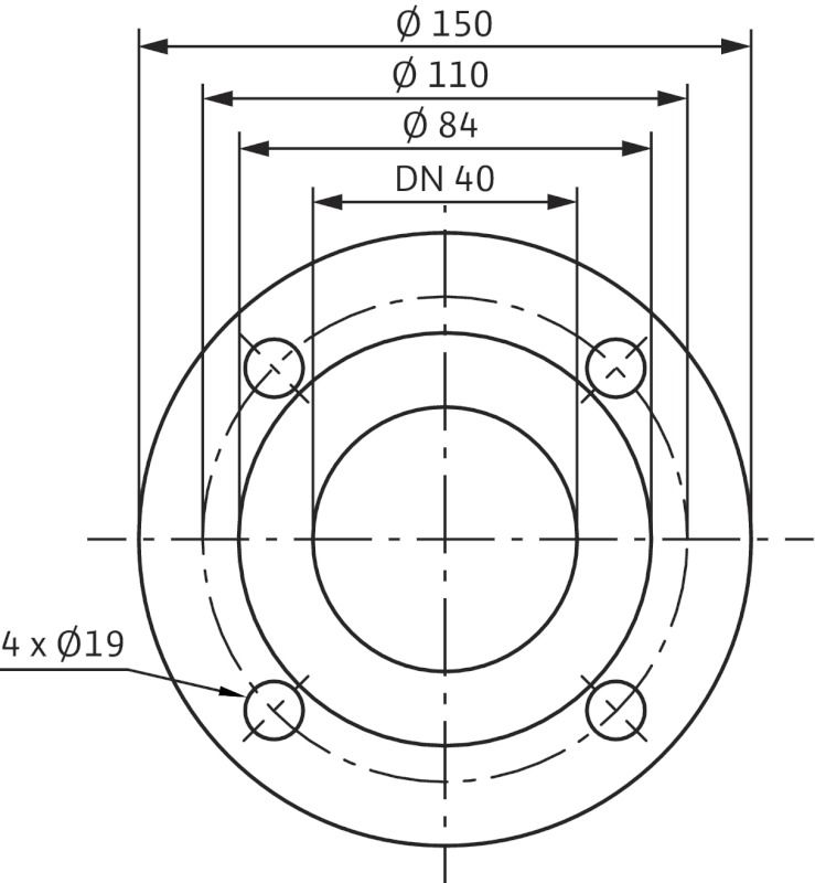 WILO CronoLine IL 40/150-0,37/4 Karimás csatlakozású, inline kivitelű száraztengelyű szivattyú / 2088318