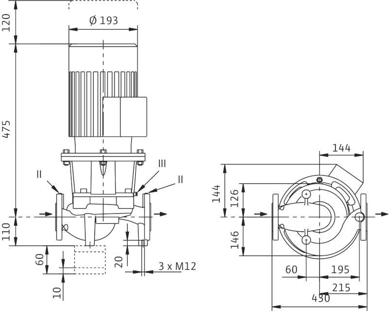 WILO CronoLine IL 65/170-1,1/4 Karimás csatlakozású, inline kivitelű száraztengelyű szivattyú / 2088364