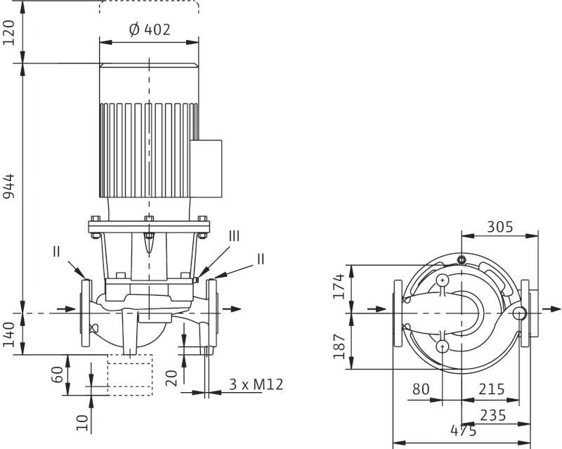 WILO CronoLine IL 65/260-37/2 Karimás csatlakozású, inline kivitelű száraztengelyű szivattyú / 2088345