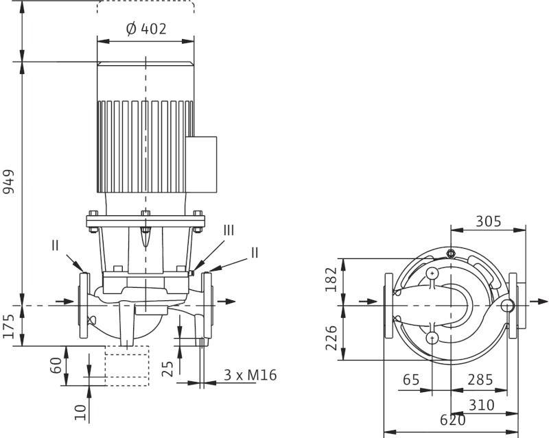 WILO CronoLine IL 125/165-30/2 Karimás csatlakozású, inline kivitelű száraztengelyű szivattyú / 2113706