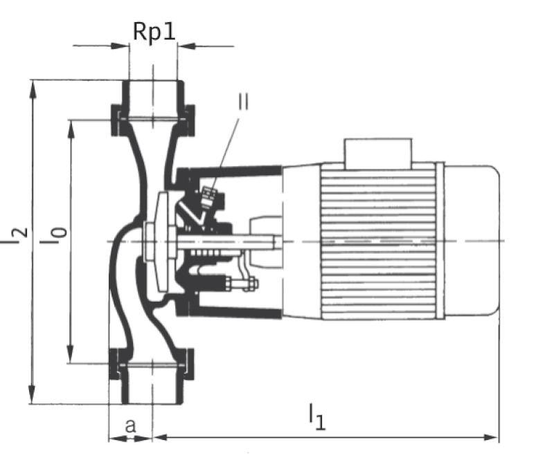 WILO VeroLine IPs 25 GRD Csavarzatos vagy karimás csatlakozású, inline kivitelű száraztengelyű szivattyú / 121347394