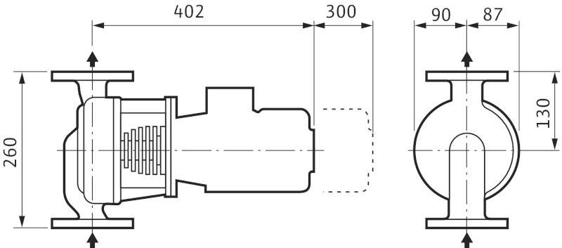 WILO VeroLine IPH-O 32/125-0,75 /2 Karimás csatlakozású, inline kivitelű száraztengelyű szivattyú / 2105776