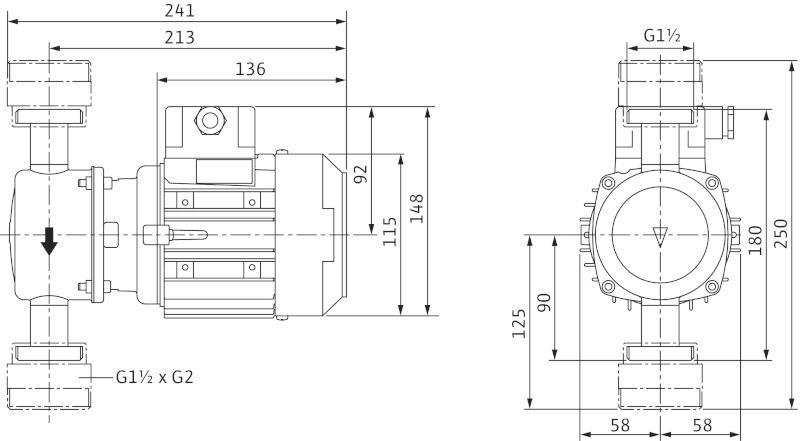 WILO VeroLine IP-Z 25/6 DM Száraztengelyű keringető szivattyú in-line kivitelben menetes csatlakozással / 4090294