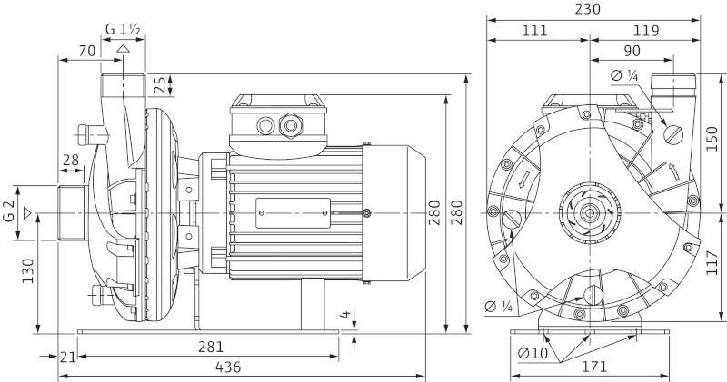WILO BAC 40/126-1,5/2-DM/S-2 Menetes vagy Victualic csatlakozású, blokk kivitelű száraztengelyű szivattyú / 4158650