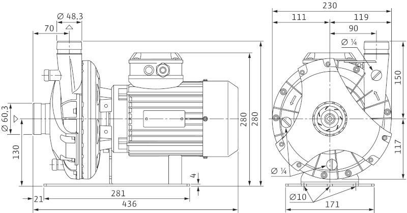WILO BAC 40/126-1,5/2-R  Menetes vagy Victualic csatlakozású, blokk kivitelű száraztengelyű szivattyú / 4158646