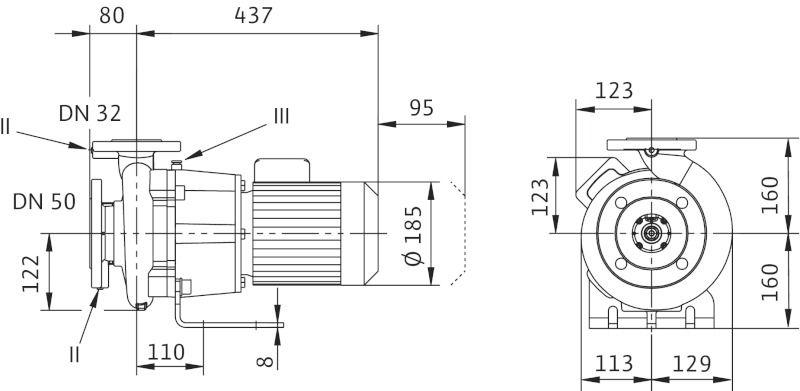WILO CronoBloc BL 32/170-0,75/4 Karimás csatlakozású, blokk kivitelű száraztengelyű szivattyú / 2089364