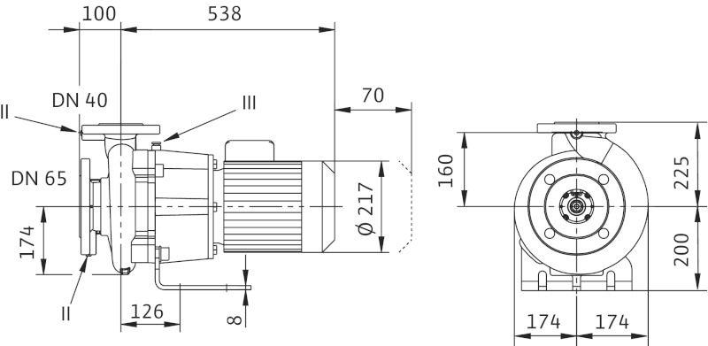 WILO CronoBloc BL 40/240-2,2/4 Karimás csatlakozású, blokk kivitelű száraztengelyű szivattyú / 2130736