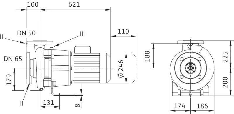WILO CronoBloc BL 50/250-4/4 Karimás csatlakozású, blokk kivitelű száraztengelyű szivattyú / 2089396