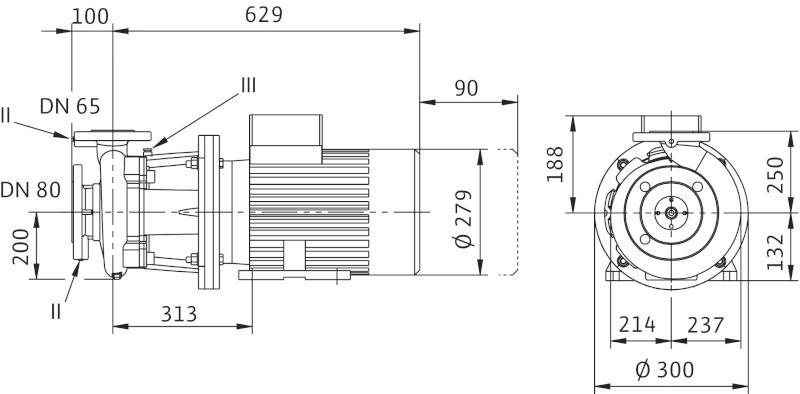 WILO CronoBloc BL 65/240-5,5/4 Karimás csatlakozású, blokk kivitelű száraztengelyű szivattyú / 2130739