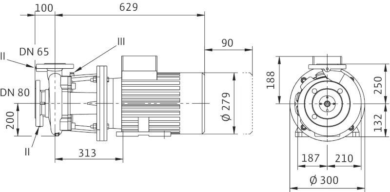 WILO CronoBloc BL 65/265-5,5/4 Karimás csatlakozású, blokk kivitelű száraztengelyű szivattyú / 2111607