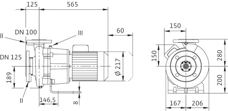 WILO CronoBloc BL 100/150-2,2/4 Karimás csatlakozású, blokk kivitelű száraztengelyű szivattyú / 2097218