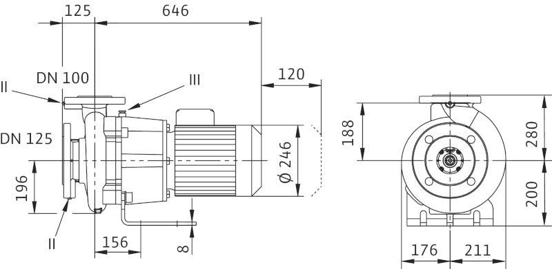 WILO CronoBloc BL 100/180-4/4 Karimás csatlakozású, blokk kivitelű száraztengelyű szivattyú / 2089465