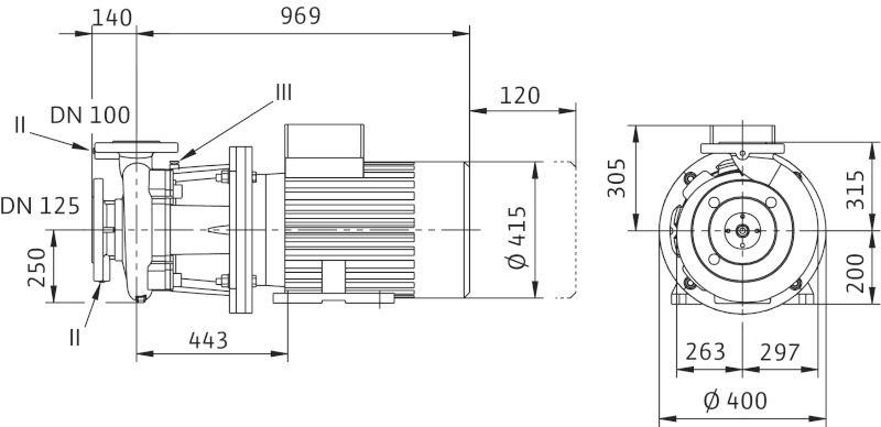 WILO CronoBloc BL 100/330-30/4 Karimás csatlakozású, blokk kivitelű száraztengelyű szivattyú / 2130740
