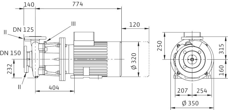 WILO CronoBloc BL 125/225-11/4 Karimás csatlakozású, blokk kivitelű száraztengelyű szivattyú / 2111612