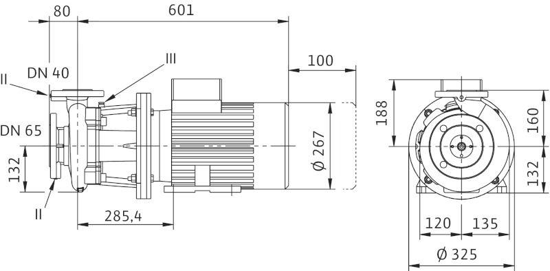 WILO CronoBloc BL 40/160-5,5/2 Karimás csatlakozású, blokk kivitelű száraztengelyű szivattyú / 2089381