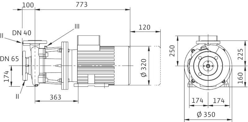 WILO CronoBloc BL 40/240-18,5/2 Karimás csatlakozású, blokk kivitelű száraztengelyű szivattyú / 2130703