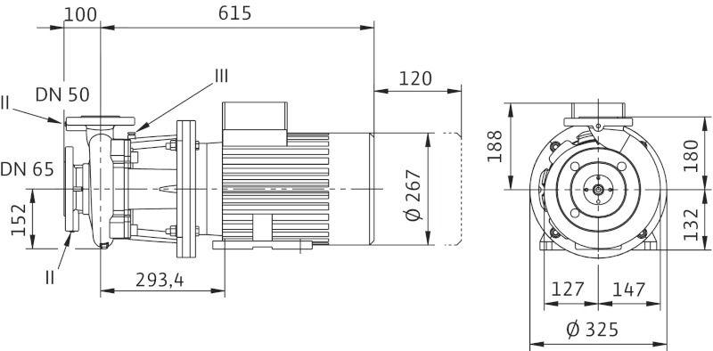 WILO CronoBloc BL 50/150-7,5/2 Karimás csatlakozású, blokk kivitelű száraztengelyű szivattyú / 2089408