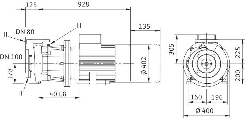 WILO CronoBloc BL 80/170-30/2 Karimás csatlakozású, blokk kivitelű száraztengelyű szivattyú / 2089445
