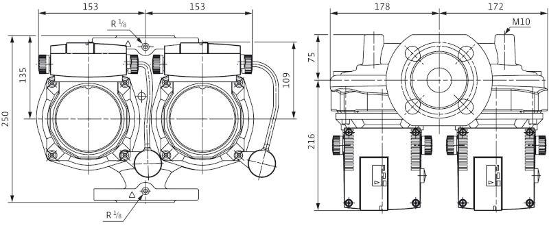 WILO TOP-STGD 40/10 EM PN6/10 Karimás csatlakozású nedvestengelyű keringető ikerszivattyú / 2131751