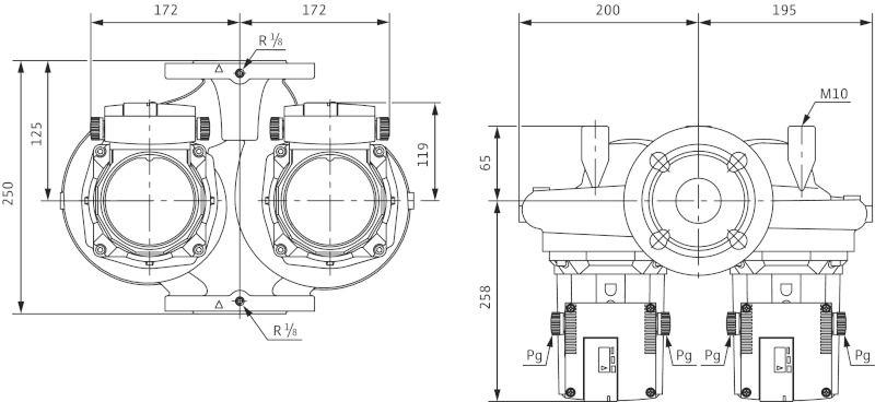 WILO TOP-STGD 40/15 EM PN6/10 Karimás csatlakozású nedvestengelyű keringető ikerszivattyú / 2131753