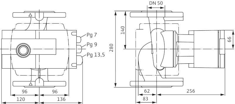 WILO Stratos-Z 50/1-9 Menetes vagy karimás csatlakozású nedvestengelyű keringetőszivattyú / 2090474