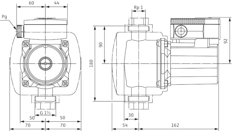 WILO TOP-Z 25/6 DM PN10 Menetes vagy karimás csatlakozású nedvestengelyű cirkulációs szivattyú / 2045522