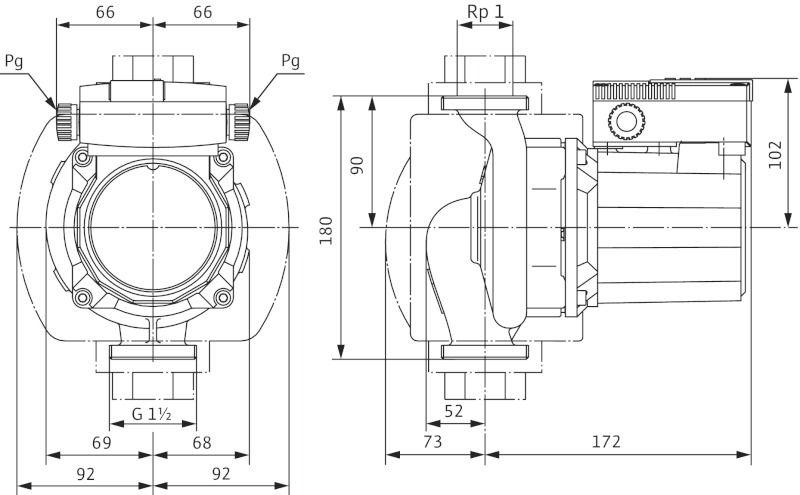 WILO TOP-Z 25/10 EM PN10 Menetes vagy karimás csatlakozású nedvestengelyű cirkulációs szivattyú / 2061964
