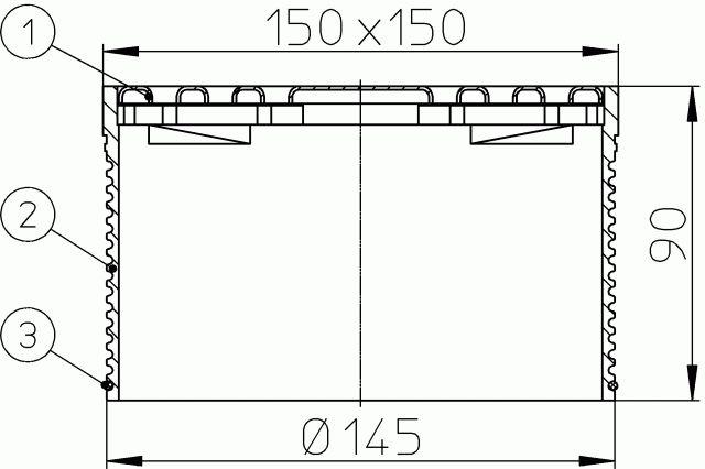HL66.9 Rácstartó (rovátkolt magasítócsővel) d 145mm, 147x147mm/138x138mm nemesacél lefolyóráccsal.