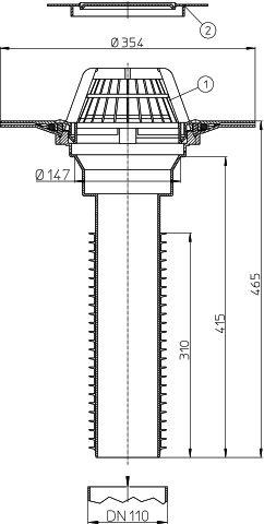 HL69P/1 Lapostető lefolyó felújításhoz, DN110 csőhöz, PVC karimával.