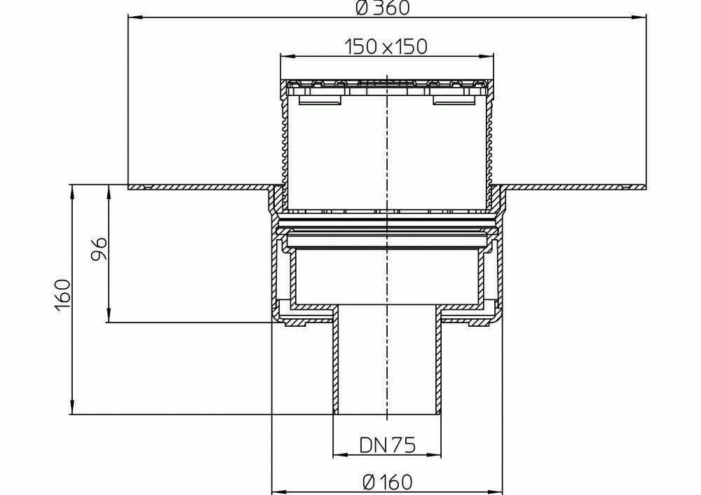 HL62BF/7 Lapostető lefolyó függőleges DN75, PP szigetelő tárcsával, járható tetőhöz - 148-148mm / 137x137mm