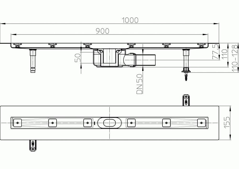 HL50F.0/100 Sík kivitelű zuhanyfolyóka nemesacélból, DN50 kimenetű lefolyóval, szerelési segédanyagokkal, fedőléc nélkül. Beépítési hossz 1000mm.