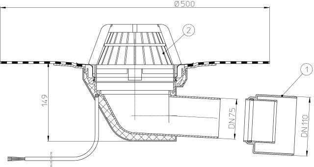 HL64.1H Tetőlefolyó vízszintes kimenettel, DN75/110, gyárilag felhegesztett bitumengallérral és 10-30W/230V fűtéssel
