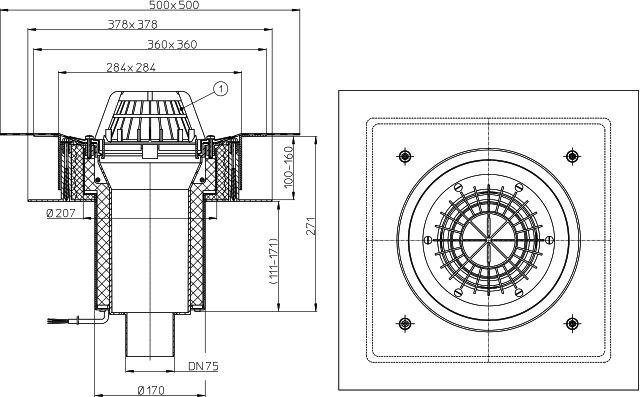 """HL63.1H/7 Tetőlefolyó """"DrainBox"""" DN75 szigetelőkarimával, gyárilag felhegesztett bitumengallérral és 10-30W/230V fűtéssel"""
