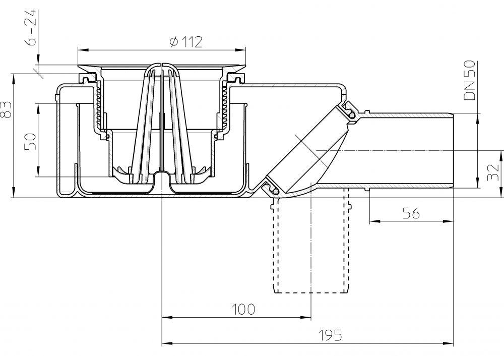HL520.0 Zuhanytálca szifon d=90mm lefolyónyíláshoz, DN50 elfordítható kimenettel, lefolyólap nélkül