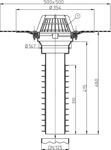 HL69H/2 Tetőlefolyó, DN125 tetőjavításhoz, gyárilag felhegesztett bitumengallérral