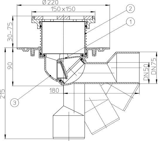 HL81G Balkon- és teraszlefolyó DN50/75 elfordítható kimenettel, szigetelő karimával, mechanikus bűzzárral, 150x150mm/137x137mm öntöttvas rácstartóval és ráccsal