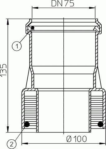 HL9/7ET Átmeneti idom DM75 műanyag/eternit