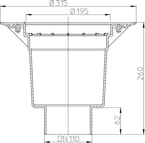 HL616K/1 Perfekt lefolyó testDN110 függőleges kimenettel, szigetelő karimával
