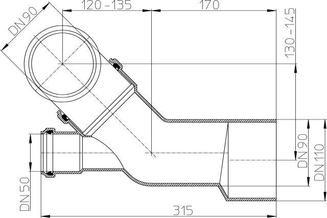HL227 Csatlakozó kombináció DN90/110, DN50-val előfalas szerelésnél