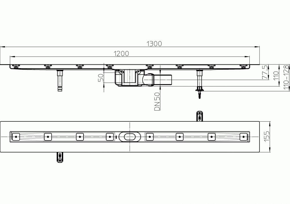 HL50F.0/130 Sík kivitelű zuhanyfolyóka nemesacélból, DN50 kimenetű lefolyóval, szerelési segédanyagokkal, fedőléc nélkül. Beépítési hossz 1300mm.