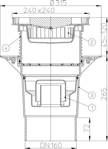 HL616W/5 Perfekt lefolyó DN160 függőleges kimenettel, szigetelő karimával, 244x244mm műanyag kerettel, 226x226mm öntöttvas ráccsal, vízbűzzárral, szemétfogó kosárral.