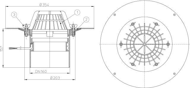 HL62.1/5 Tetőlefolyó DN160 szigetelőkarimával, szorítóelemmel és 10-30W/230V fűtéssel