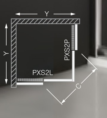 Roltechnik PXS2L+PXS2P szögletes zuhanykabin / 80x80x185 / brillant profillal / satinato üveggel
