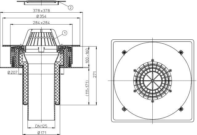 HL63P/2 DrainBox lapostető lefolyó DN125, PVC karimával.