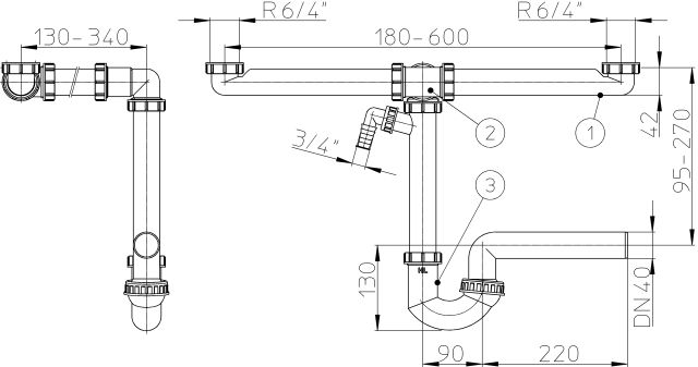 """HL126.2/40 Helytakarékos DN40/6/4""""  csőszifon / mosogató szifon, 2db mosógép / mosogatógép csatlakozóval"""