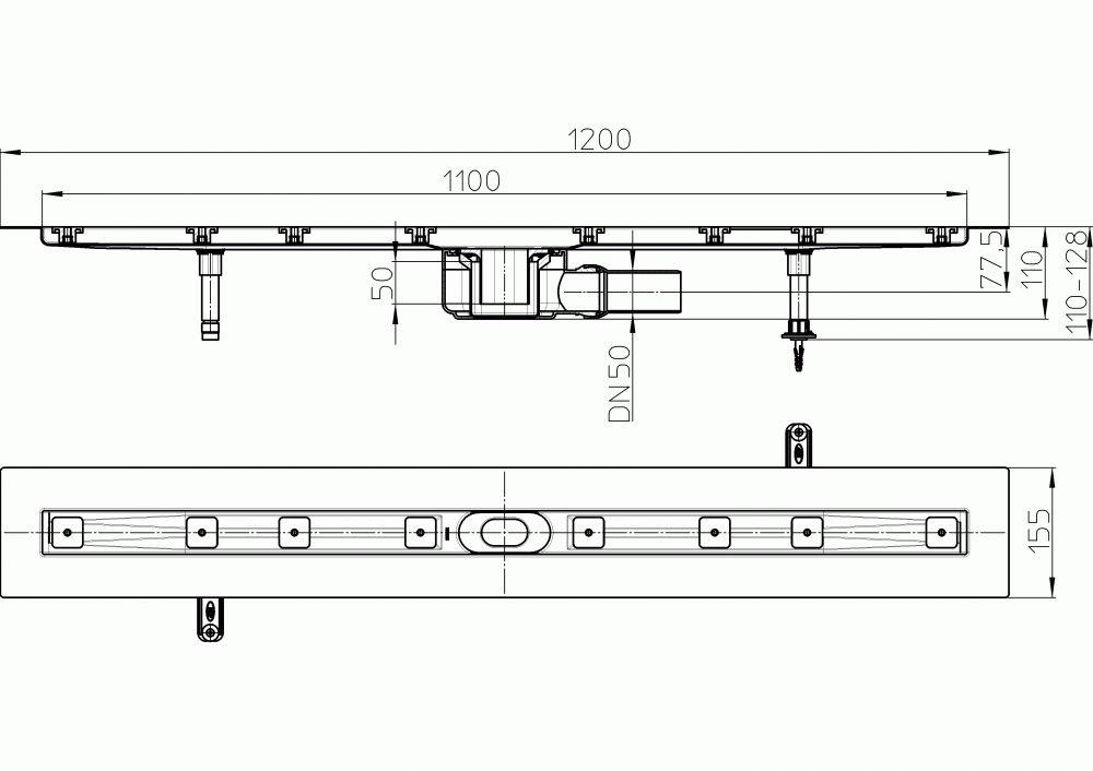HL50F.0/120 Sík kivitelű zuhanyfolyóka nemesacélból, DN50 kimenetű lefolyóval, szerelési segédanyagokkal, fedőléc nélkül. Beépítési hossz 1200mm.