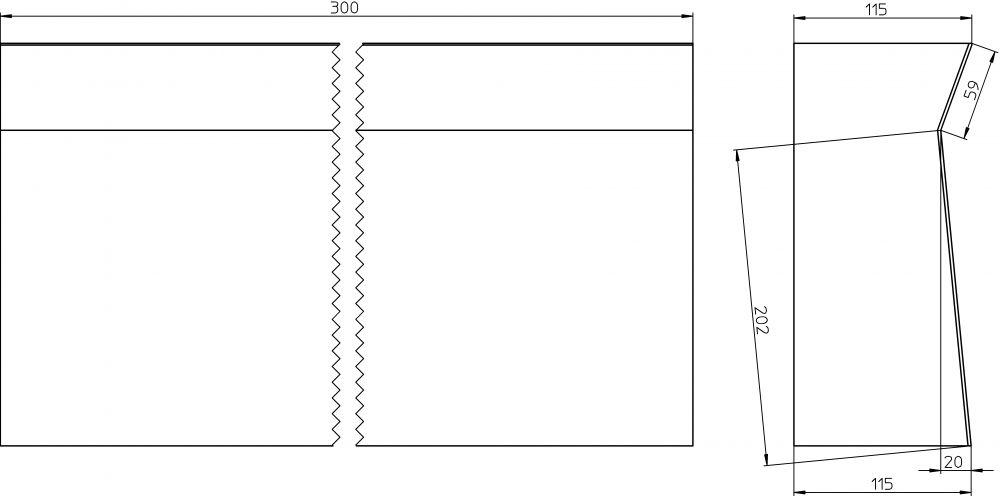 HL530V-30 Zuhanyfolyóka blokk toldóidom a HL530-hoz 30cm