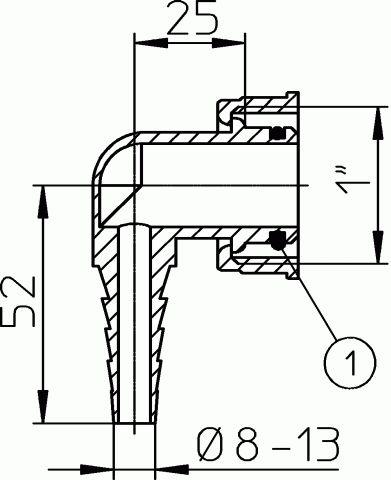 HL19.2 Tömlővég csatlakozókönyök 8-13mm tömlőhöz