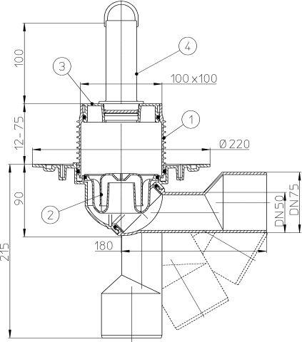 HL80.2 Padlólefolyó DN50/75 elfordítható kimenettel, szigetelő karimával, vízbűzzárral, 100x100mm rácstartóval, szeleplappal és túfolyó csővel