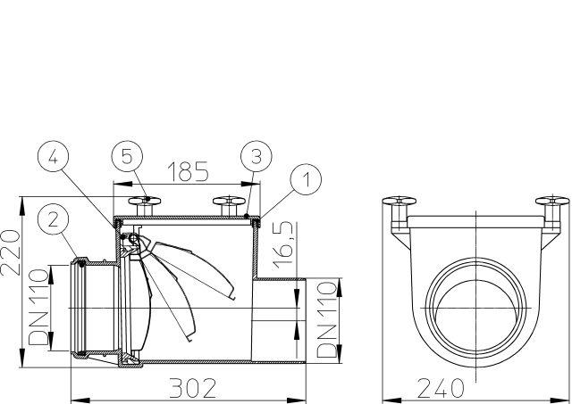 HL710 Visszatorlás gátló szelep, DN110 nemesacél csappantyúval, tisztítófedéllel